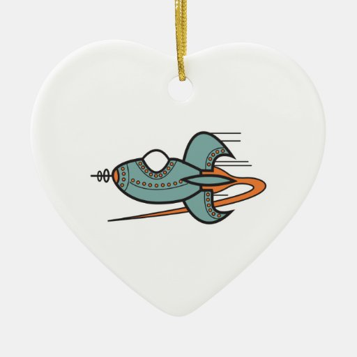 retro rocket Double-Sided heart ceramic christmas ornament