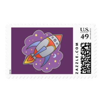 Retro Rocket Postage Stamp