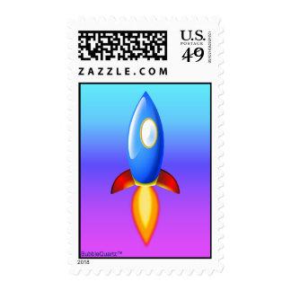 Retro rocket postage stamps