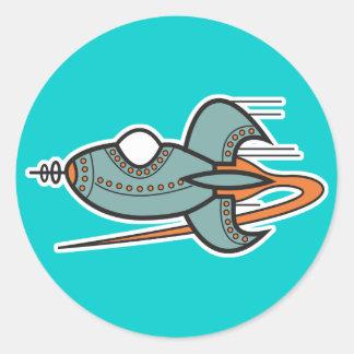 retro rocket round stickers
