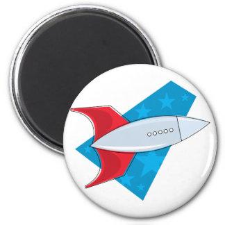 Retro Rocket Ship 2 Inch Round Magnet