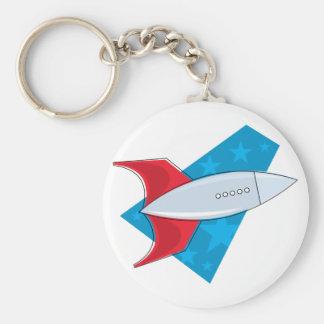 Retro Rocket Ship Basic Round Button Keychain
