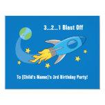 "Retro Rocket Ship Birthday Invite 4.25"" X 5.5"" Invitation Card"