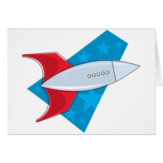 Retro Rocket Ship Card