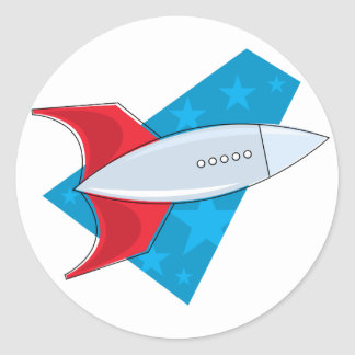 Retro Rocket Ship Classic Round Sticker