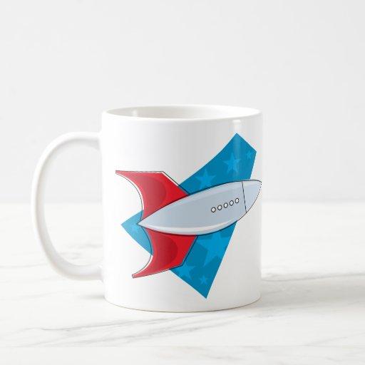 Retro Rocket Ship Classic White Coffee Mug