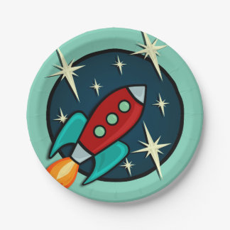 RETRO ROCKET SHIP GRAPHIC PAPER PLATE