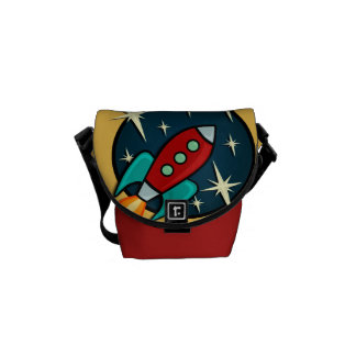 RETRO ROCKET SHIP MESSENGER BAG