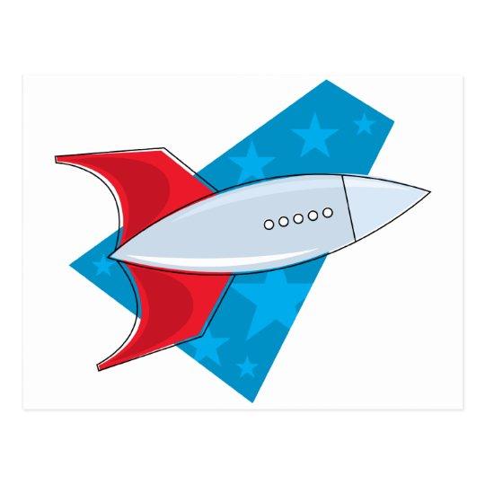 Retro Rocket Ship Postcard