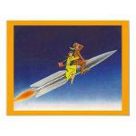 Retro Rocket Ship Riding Away Moving Announcements