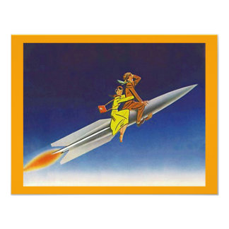 "Retro Rocket Ship Riding Away Moving Announcements 4.25"" X 5.5"" Invitation Card"