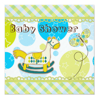 Retro Rocking Horse & Butterfly Baby Shower 5.25x5.25 Square Paper Invitation Card