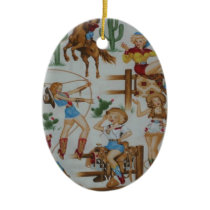 Retro Rodeo Cowgirls Christmas White Tree Ornament