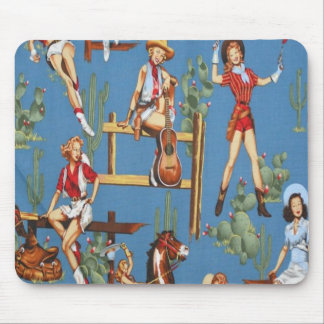 Retro Rodeo Cowgirls Mousepad