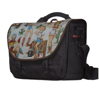 Retro Rodeo Cowgirls White Laptop Bag
