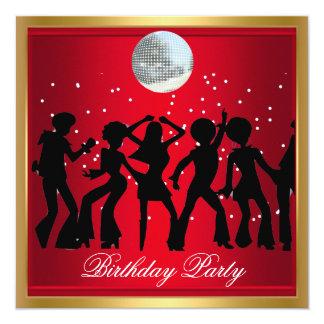 """Retro rojo de la fiesta de cumpleaños de los años invitación 5.25"""" x 5.25"""""""