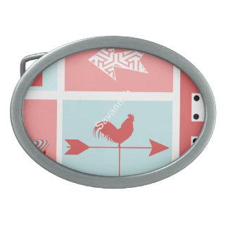 Retro rojo de la granja de la aguamarina rústica hebilla de cinturon oval
