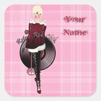 Retro Rok Chik Square Stickers