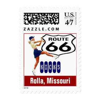 Retro Rolla Missouri Kick Travel Route 66 Vintage Postage Stamp
