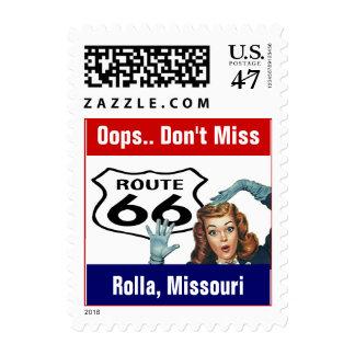Retro Rolla Missouri MO Travel Route 66 Vintage Postage