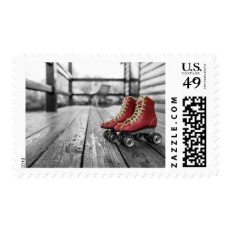 Retro roller skates postage stamp