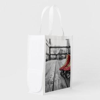 Retro roller skates reusable grocery bag