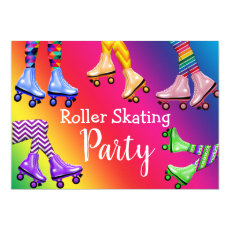 Retro Roller Skating Birthday Party Invitation