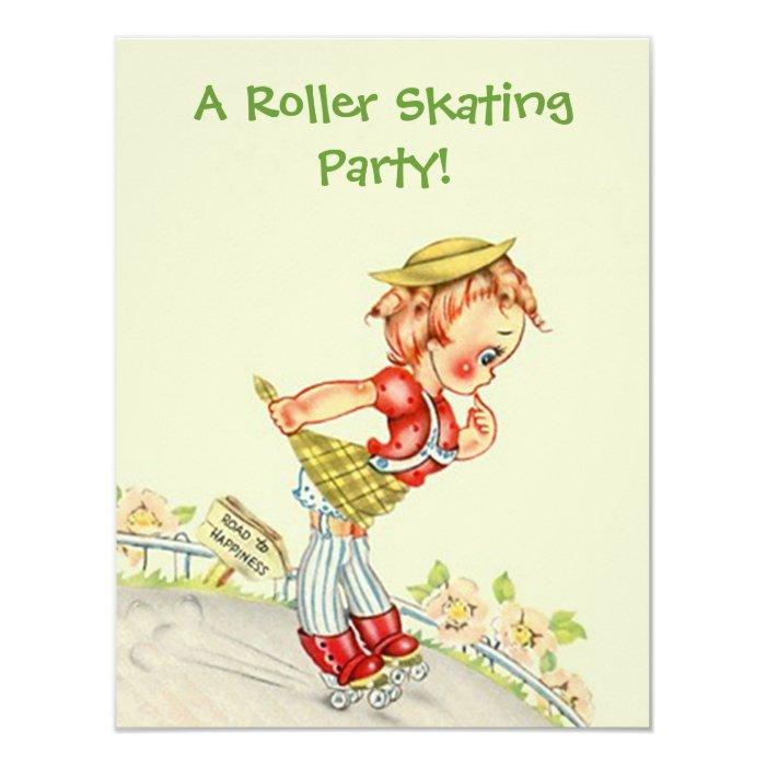 Retro Roller Skating Skater skate Party Invitation