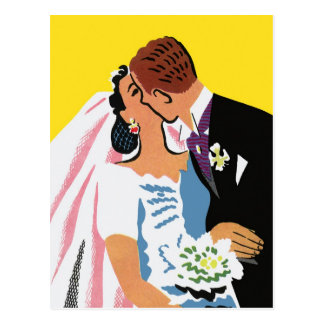 Retro Romance! You May Now Kiss the Bride! Postcard