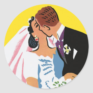 Retro Romance! You May Now Kiss the Bride! Classic Round Sticker