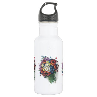 Retro Romantic Colorful Vintage Floral Bouquet Stainless Steel Water Bottle