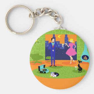 Retro Romantic Evening Couple Button Keychain