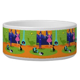 Retro Romantic Evening Couple Ceramic Pet Bowl