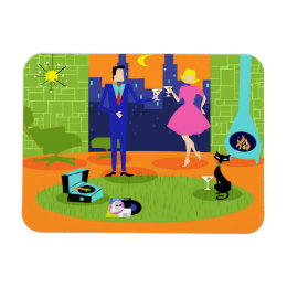 Retro Romantic Evening Couple Flexible Magnet