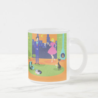 Retro Romantic Evening Couple Frosted Glass Mug
