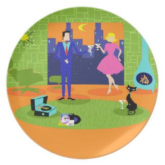Retro Romantic Evening Couple Melamine Plate