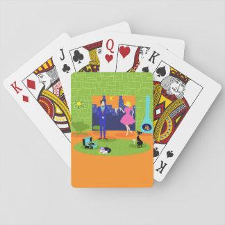 Retro Romantic Evening Couple Playing Cards