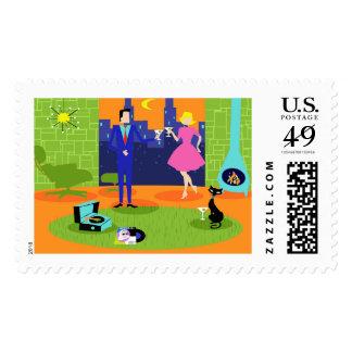 Retro Romantic Evening Couple Postage Stamps