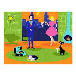 Retro Romantic Evening Couple Postcard