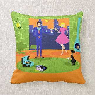 Retro Romantic Evening Couple Throw Pillow