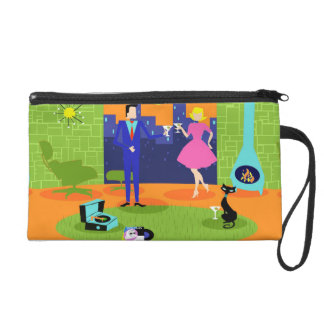 Retro Romantic Evening Couple Wristlet