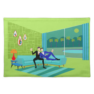 Retro Romantic Gay Couple Cloth Placemat