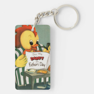 Retro Rooster Daddy Reads the Newspaper Keychain