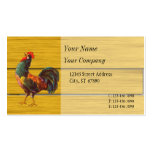 Retro Rooster Faux Wood Custom Business Cards