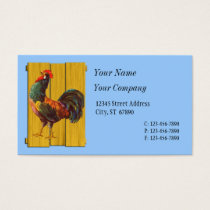 Retro Rooster on Blue Custom Business Cards