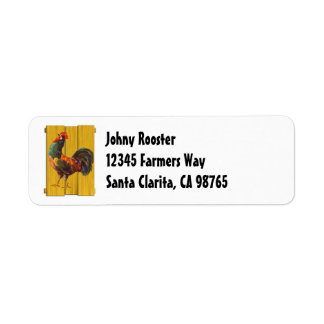 Retro Rooster on Faux Wood Return Address Label