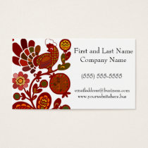 Retro Rooster Orange and Red Print Business Card