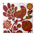 Retro Rooster Orange and Red Print Ceramic Tiles