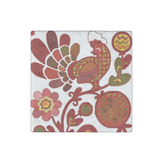 Retro Rooster Orange and Red Print Stone Magnet