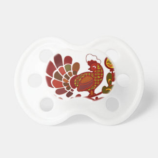 Retro Rooster Orange and Red Print Pacifier